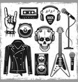 hard rock and metal music attributes elements vector image vector image