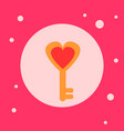 heart shaped key icon on pink background vector image