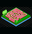 isometric 3d maze tile with arrow solution vector image