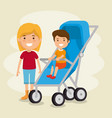 little girl with baby vector image