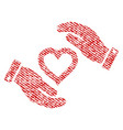 love heart care hands fabric textured icon vector image vector image