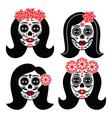 mexican la catrina - day dead girl skull vector image