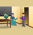 muslim kid and teacher in a classroom vector image