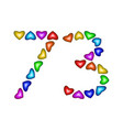 number 73 seventy three colorful hearts on white vector image vector image