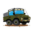 offroad 4x4 jeep cartoon parked in the mud vector image