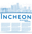 Outline Incheon Skyline with Blue Buildings vector image vector image