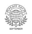 peace day line logo design vector image vector image