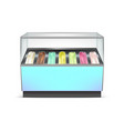 realistic detailed 3d fridge for ice cream vector image vector image