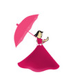 rgbman walks with an umbrella in the autumn vector image vector image