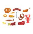 set food and snack icons vector image