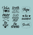 Set of 9 hand lettering christian quotes god loves vector image