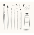 set of art tools vector image vector image