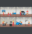 set of automobile workshop vector image vector image