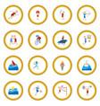 summer sport cartoon icon circle vector image vector image