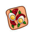 tasty sandwich with half boiled egg and cutted vector image vector image