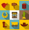 wild west things icons set flat style vector image