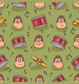 seamless pattern with monkey and drums vector image