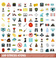 100 stress icons set flat style vector image vector image