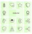 14 emblem icons vector image vector image