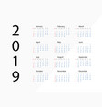 2019 new year calendar on 2019 year template vector image vector image