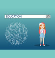 a lovely girl with education search engine bar vector image vector image