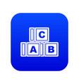 abc cubes icon digital blue vector image vector image