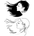 Beautiful girl with long hair Hair fluttering wind vector image vector image