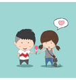 Boy heart-shaped Ice cream gives Girl and cat vector image vector image