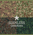 camouflages seamless patterns set vector image vector image