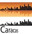 Caracas skyline in orange background vector image vector image
