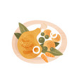chicken leg potatoes green peas and carrot in vector image vector image