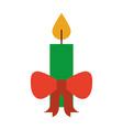 christmas candle red bow burning celebration vector image