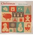 Christmas retro icons vector image