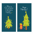 christmas trees and giftbox are congratulated vector image