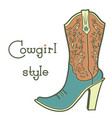 cowgirl boot with floral pattern and text vintage vector image vector image