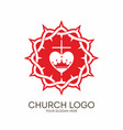 crown of thorns cross and heart vector image vector image