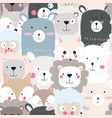 cute animal face seamless pattern vector image vector image