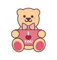 cute bear doll love letter graphic vector image vector image