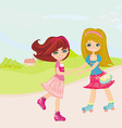 Cute little girls ride on rollers vector image