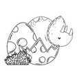 cute triceratops with eggs scene vector image