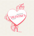 doodle style heart with decoration for valentines vector image vector image