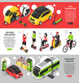 eco transport isometric horizontal banners vector image