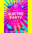 electronic music festival poster design rainbow vector image