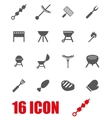 grey barbecue icon set vector image vector image