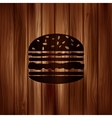 Hamburger web icon Wooden background vector image