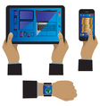 Hand with modern device gadgets vector image vector image