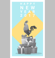 Happy new year 2017 card with rooster 12 vector image vector image