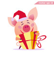 happy pig with present vector image vector image