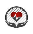 heart care concept cardio vascular hands holding vector image vector image