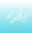 Hexagon transparent elements on blue background vector image